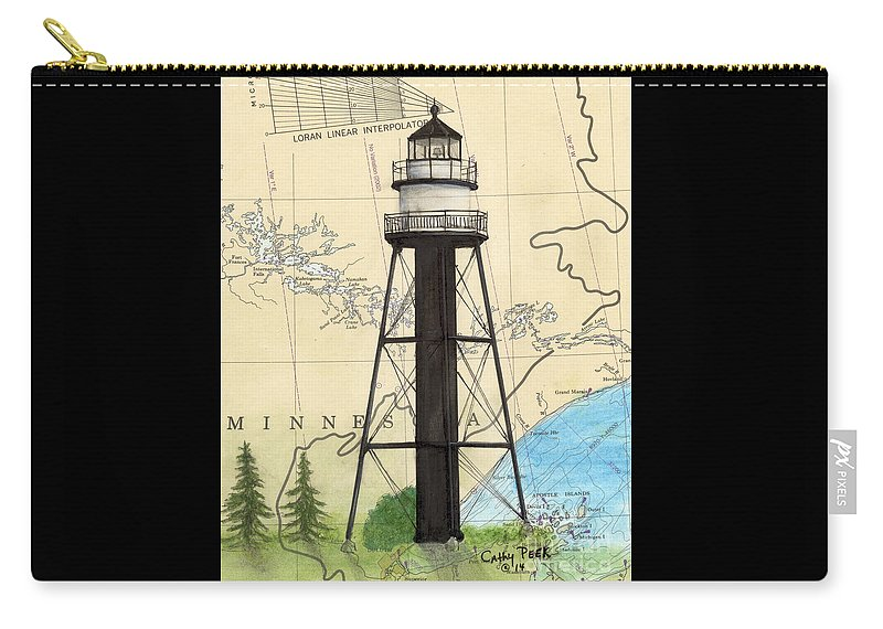 Duluth Carry-all Pouch featuring the painting Duluth Harbor S Breakwater Inner Lighthouse Mn Nautical Chart Art by Cathy Peek
