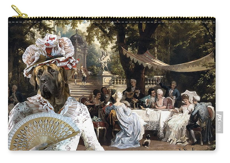 English Mastiff Carry-all Pouch featuring the painting English Mastiff - Mastiff Art Canvas Print - The Garden Party by Sandra Sij