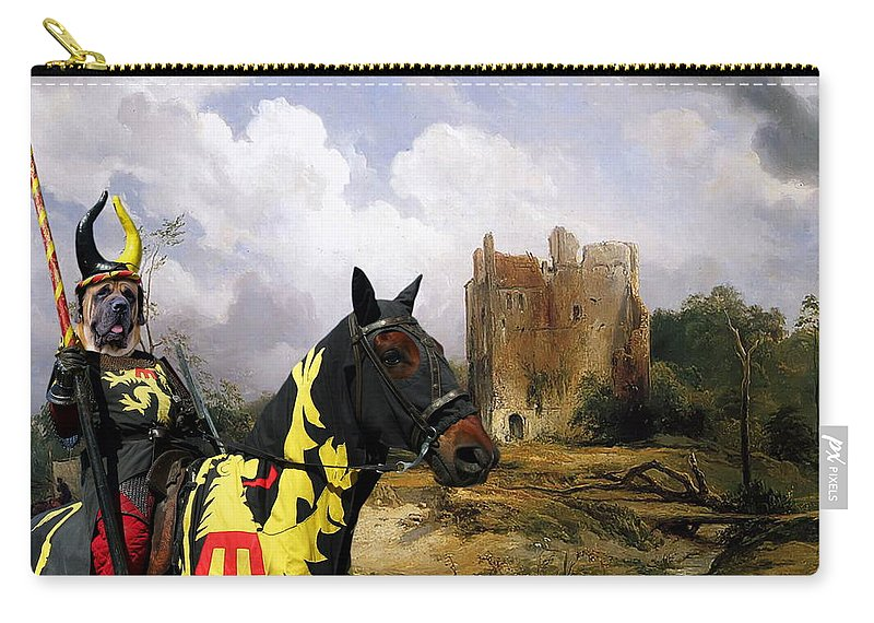 English Mastiff Carry-all Pouch featuring the painting English Mastiff - Mastiff Art Canvas Print - The Ruins Home by Sandra Sij