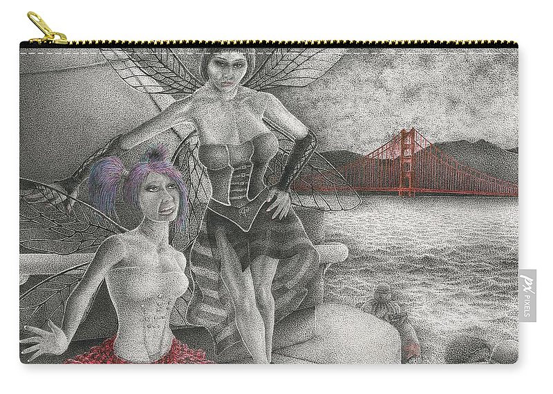 Drawing Carry-all Pouch featuring the drawing Fairys Lesson by Michael Stanford