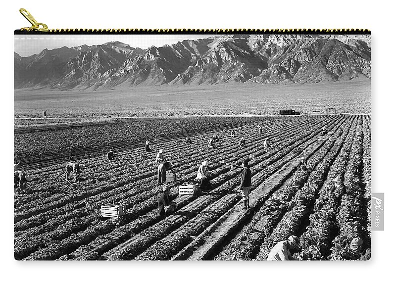 Ansel Adams Carry-all Pouch featuring the digital art Farm Workers And Mount Williamson by Ansel Adams