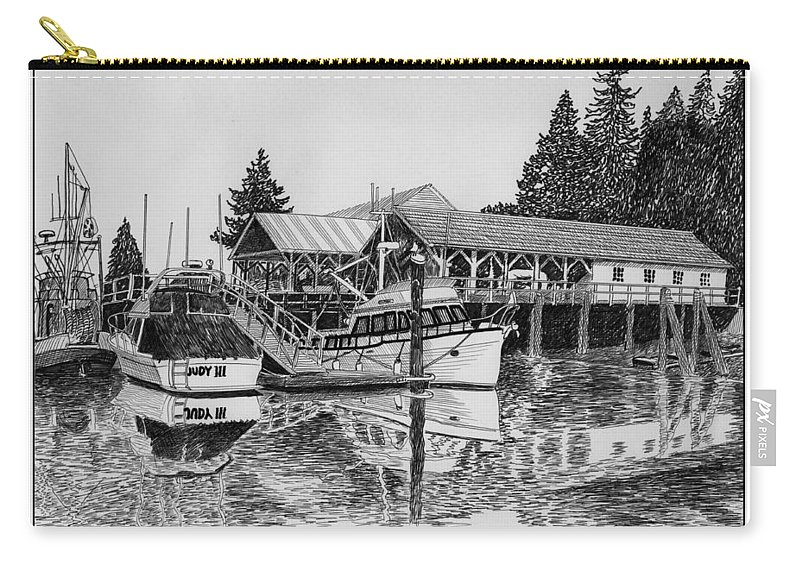 Net Sheds Carry-all Pouch featuring the drawing Net Shed Gig Harbor by Jack Pumphrey