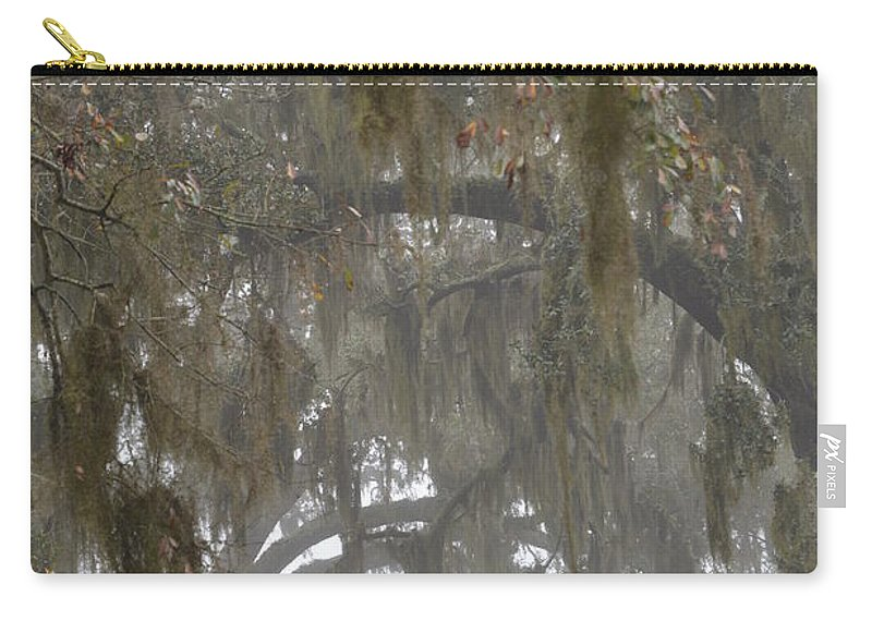 Fog In Trees Carry-all Pouch featuring the photograph Fog In Mossy Oaks by Xyldia Grace