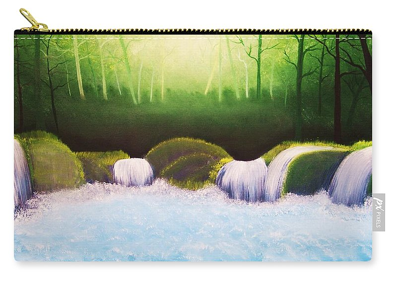 Landscape Carry-all Pouch featuring the painting Forest Waterfall by Misuk Jenkins