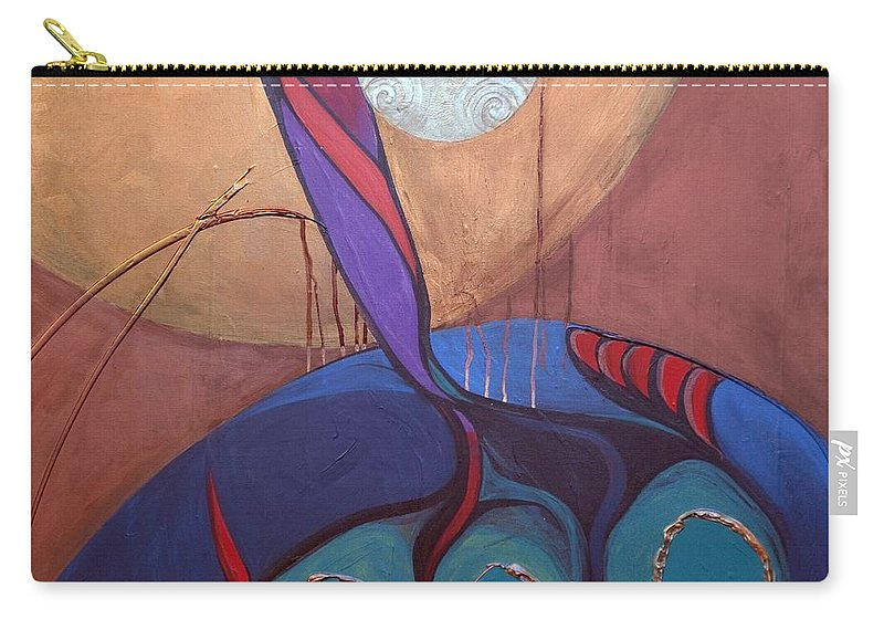 Judaic Carry-all Pouch featuring the painting Hadlakat Hanerot by Marlene Burns