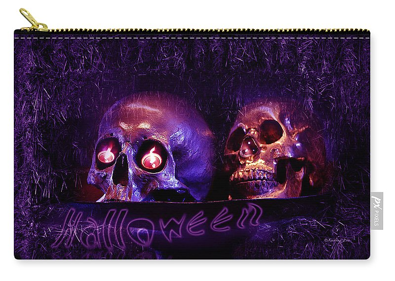 Night Of The Dead Carry-all Pouch featuring the digital art Halloween Party by Xueling Zou