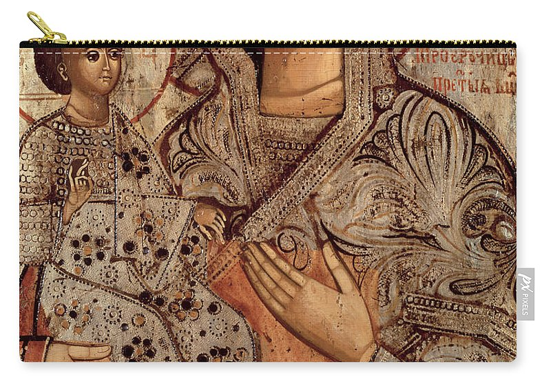 Halo Carry-all Pouch featuring the painting Icon Of The Blessed Virgin With Three Hands by Novgorod School