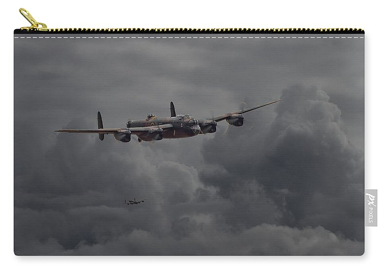 Aircraft Carry-all Pouch featuring the digital art Lancaster - Heavy Weather by Pat Speirs