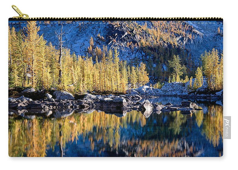 Alpine Lakes Wilderness Carry-all Pouch featuring the photograph Larch Tree Reflection In Leprechaun Lake by Tracy Knauer
