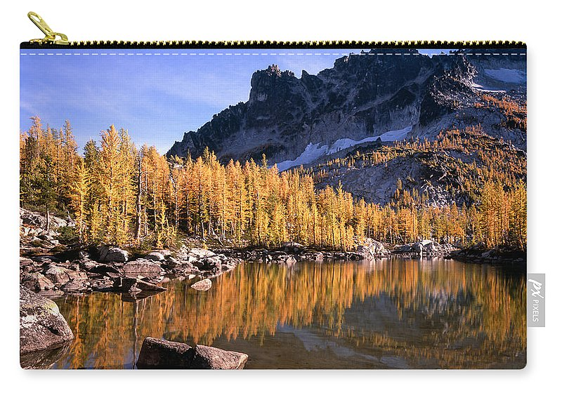 Alpine Lakes Wilderness Carry-all Pouch featuring the photograph Larches Line Leprechaun Lake by Tracy Knauer