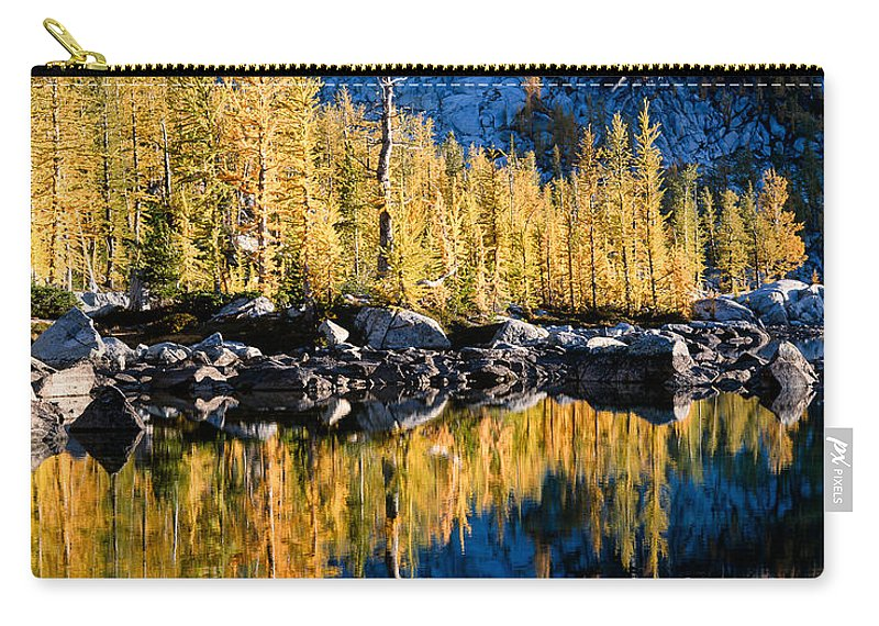 Lake Carry-all Pouch featuring the photograph Leprechaun Lake Larches by Tracy Knauer