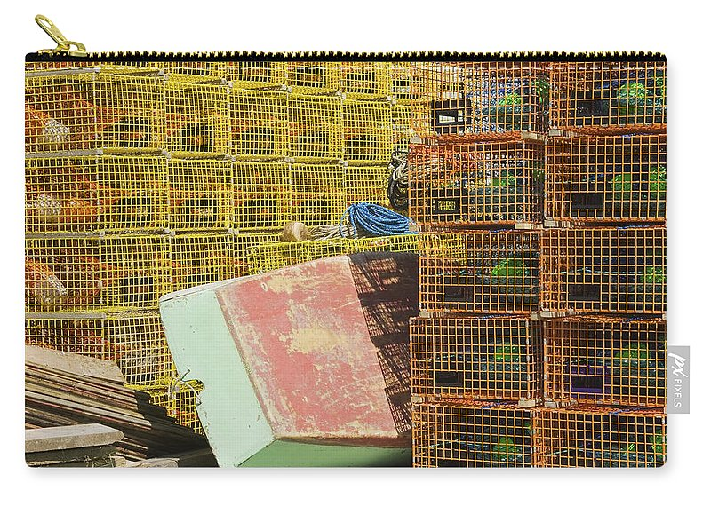 Lobstertrap Carry-all Pouch featuring the photograph Lobster Traps And Dinghy On Coast In Maine by Keith Webber Jr