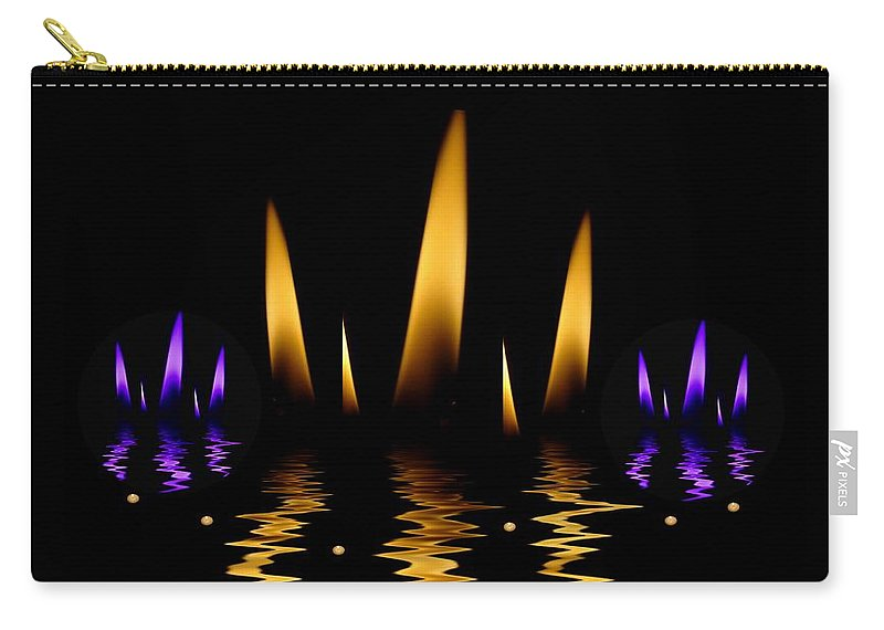 Lotus Carry-all Pouch featuring the mixed media Lotus On Fire In The Dark Night by Pepita Selles