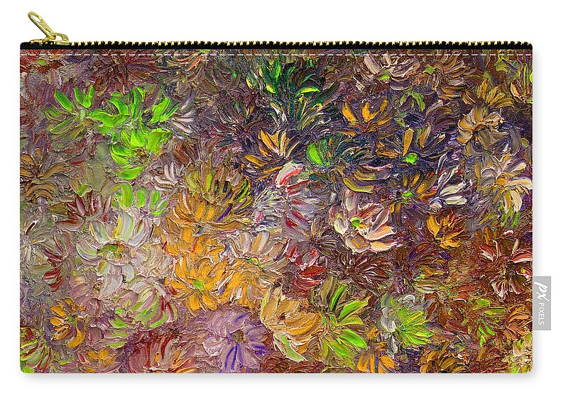 Green Abstract Carry-all Pouch featuring the painting My Pretty Green Pallet by Karin Dawn Kelshall- Best