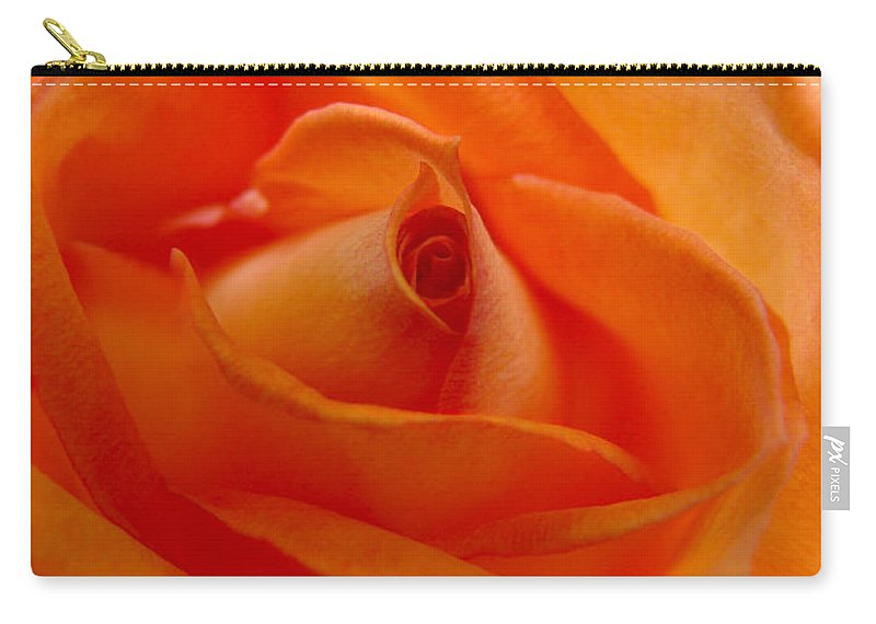 Rose Carry-all Pouch featuring the photograph Orange Swirls Rose Flower by Jennie Marie Schell