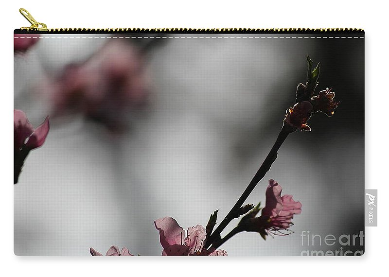 Peach Blossom Carry-all Pouch featuring the photograph Peach Blossom II by Karin Everhart