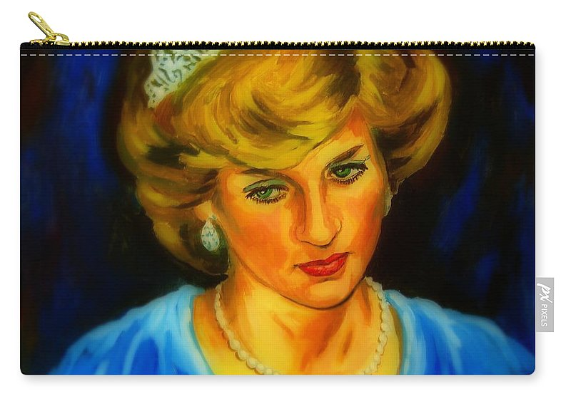 Portrait Of Lady Diana Carry-all Pouch featuring the digital art Portrait Of Lady Diana by John Malone