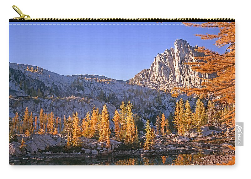 Lake Carry-all Pouch featuring the photograph Prusik Peak Behind Larch Trees by Tracy Knauer