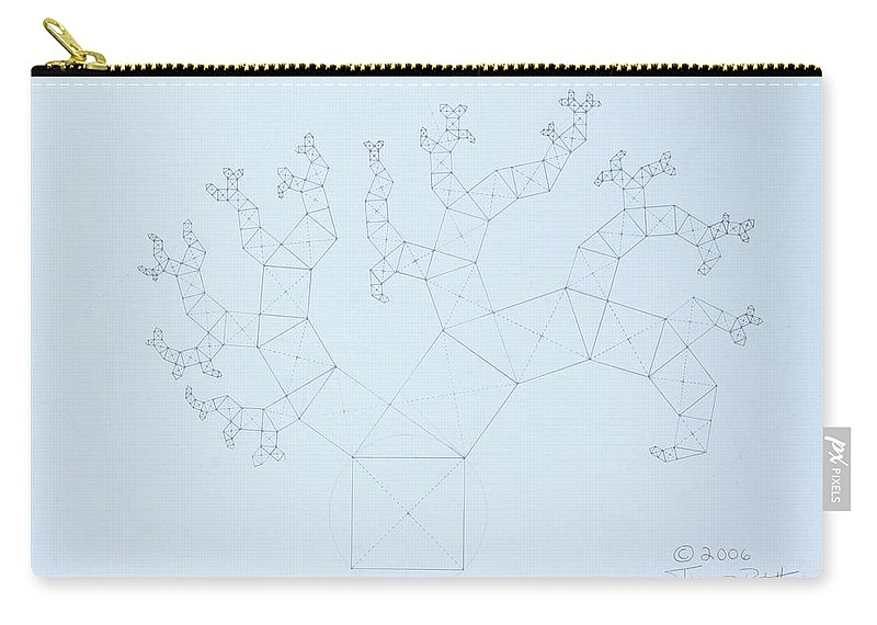 Fractal Tree Carry-all Pouch featuring the drawing Quantum Tree by Jason Padgett