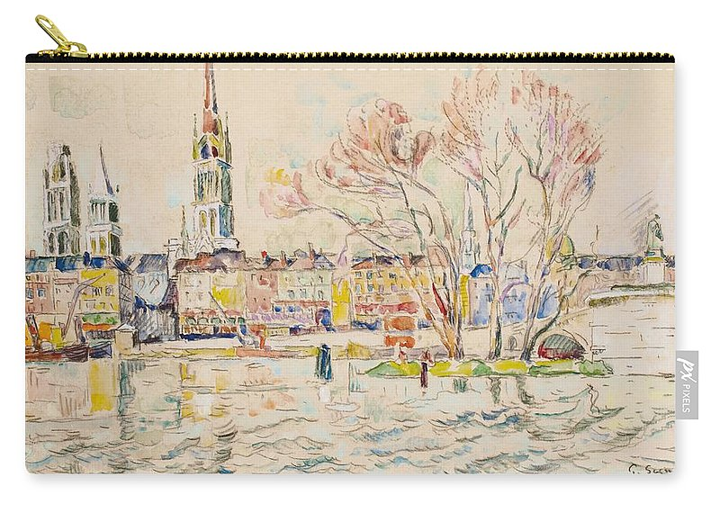 Rouen; France; French; Town; Townscape; Tower; Skyline; Sketch; Post Impressionist; Post-impressionist; Cathedral; River; Riverbank; Seine Carry-all Pouch featuring the painting Rouen by Paul Signac