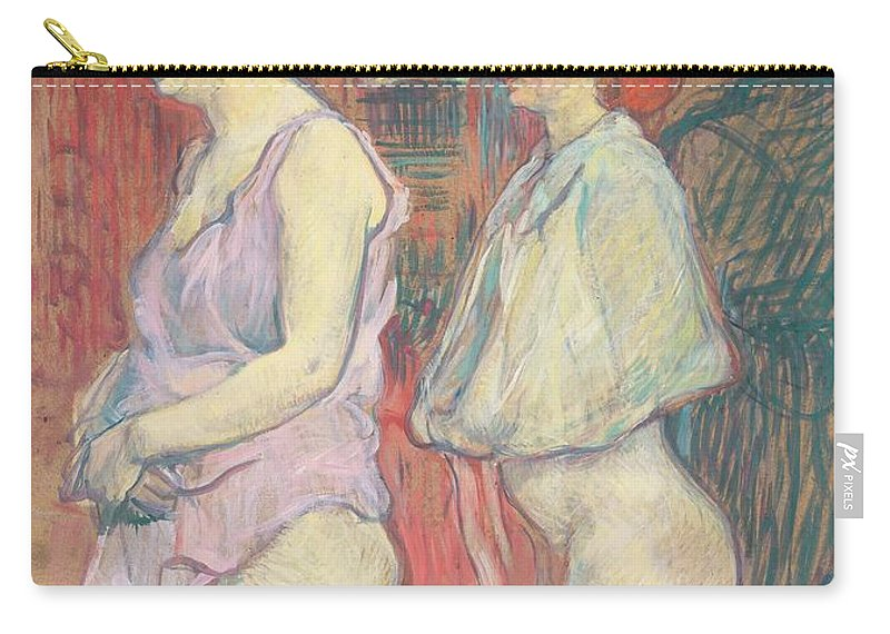 Female; Prostitute; Stocking; Nude; Half; Dressed; Provocative; Seductive; Side; View; Profile; Half; Length; Prostitution; Post-impressionist; Brothel Carry-all Pouch featuring the painting Rue Des Moulins by Henri de Toulouse-Lautrec