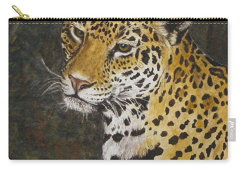 Wildlife Carry-all Pouch featuring the painting South American Jaguar by Elaine Booth-Kallweit