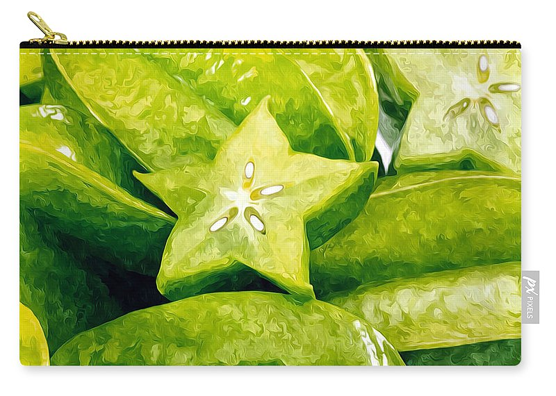 Star Apple Fruit On The Tree Carry-all Pouch featuring the painting Star Fruit Carambola by Jeelan Clark
