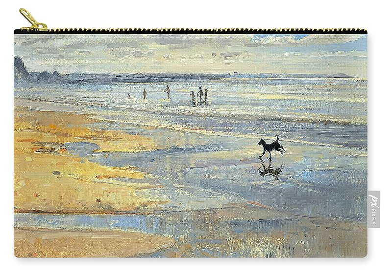 20th; Beach; Seaside; Low Tide; Dog; Running; Playing; Sand; Coast Carry-all Pouch featuring the painting The Little Acrobat by Timothy Easton