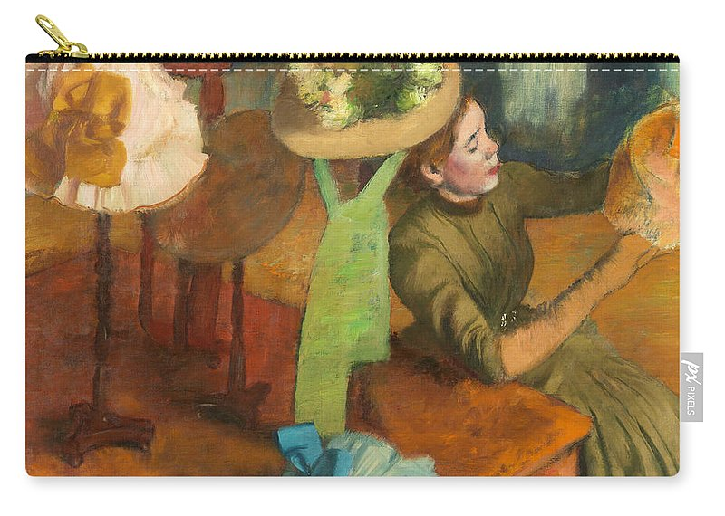 Edgar Degas Carry-all Pouch featuring the painting  The Millinery Shop by Edgar Degas