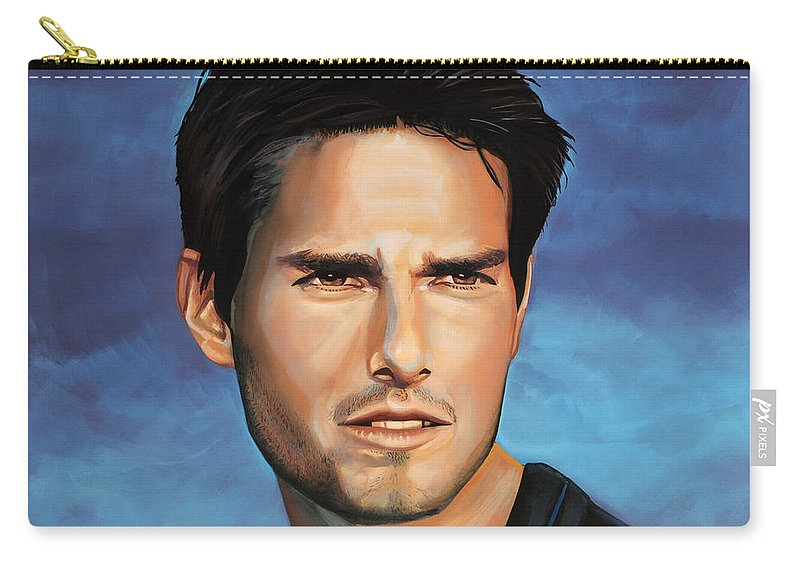 Tom Cruise Carry-all Pouch featuring the painting Tom Cruise by Paul Meijering