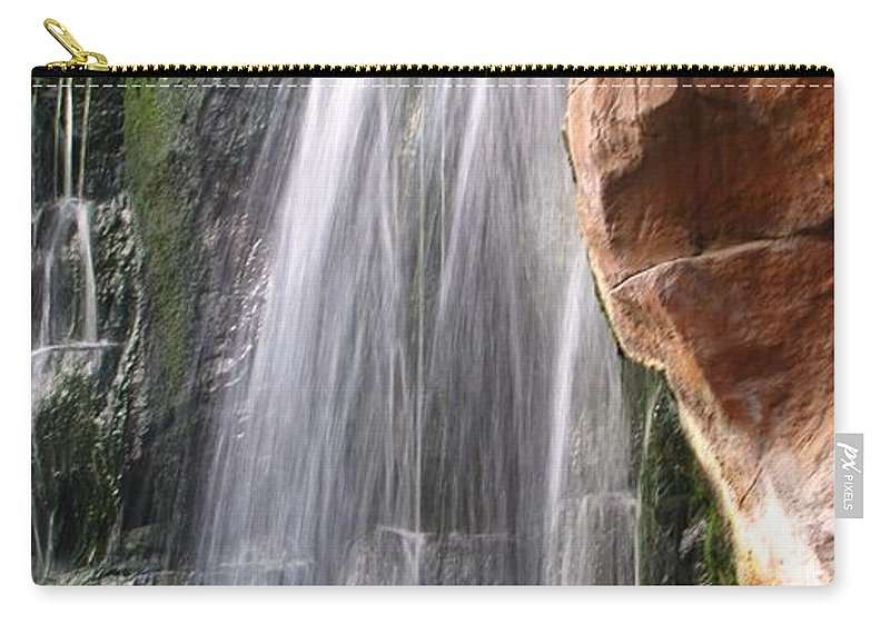 Waterfall Carry-all Pouch featuring the photograph Veil Of Water by Jennifer Wheatley Wolf