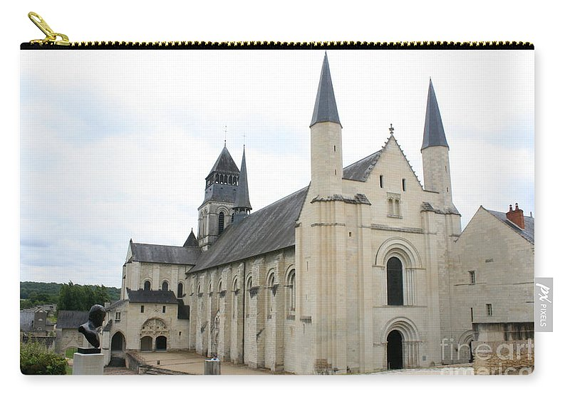 Cloister Carry-all Pouch featuring the photograph West Facade Of The Church - Fontevraud Abbey by Christiane Schulze Art And Photography