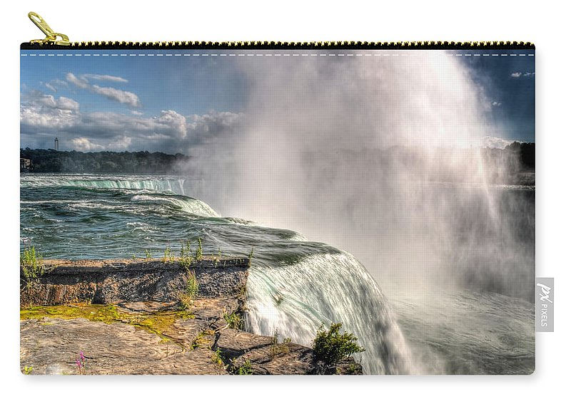Niagara Falls Carry-all Pouch featuring the photograph 0011 Niagara Falls Misty Blue Series by Michael Frank Jr