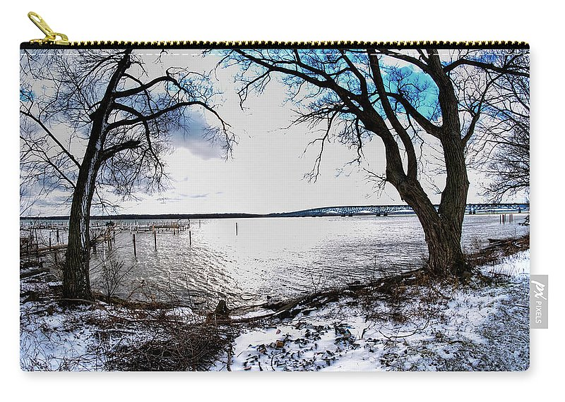 Carry-all Pouch featuring the photograph 0012 Grand Island Bridge Series by Michael Frank Jr