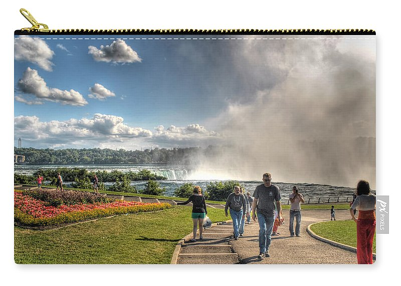 Niagara Falls Carry-all Pouch featuring the photograph 0014 Niagara Falls Misty Blue Series by Michael Frank Jr