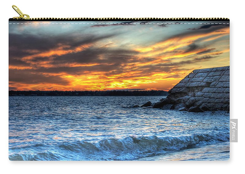 Sunset Carry-all Pouch featuring the photograph 0015 Awe In One Sunset Series At Erie Basin Marina by Michael Frank Jr