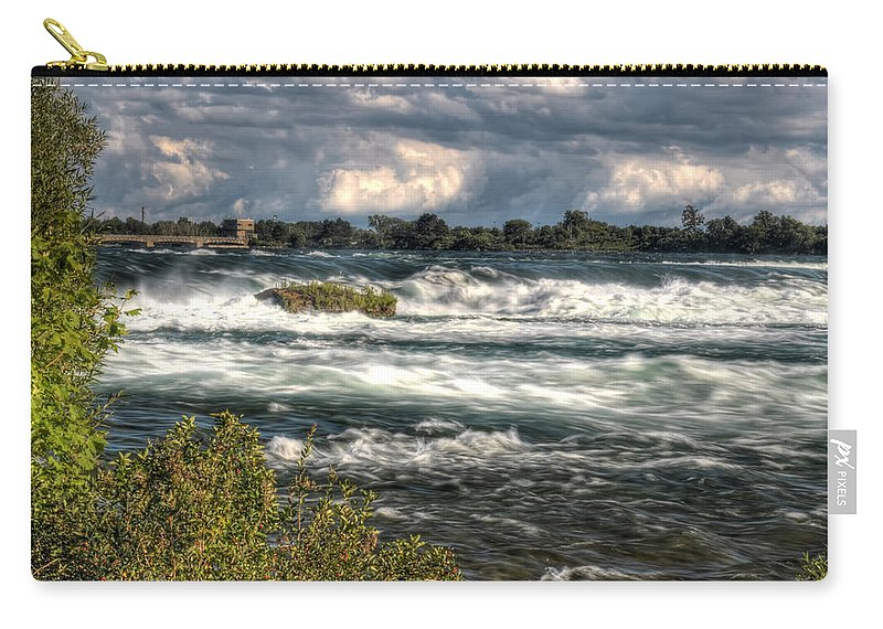 Niagara Falls Carry-all Pouch featuring the photograph 0015 Niagara Falls Misty Blue Series by Michael Frank Jr