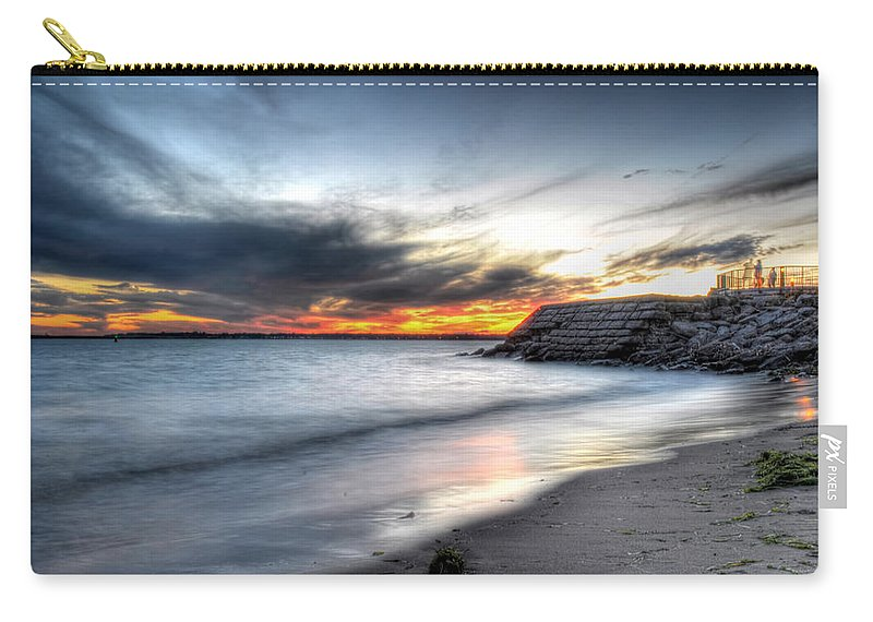 Sunset Carry-all Pouch featuring the photograph 0020 Awe In One Sunset Series At Erie Basin Marina by Michael Frank Jr
