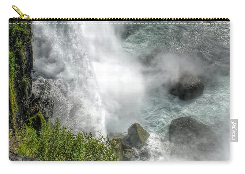 Niagara Falls Carry-all Pouch featuring the photograph 004 Niagara Falls Misty Blue Series by Michael Frank Jr