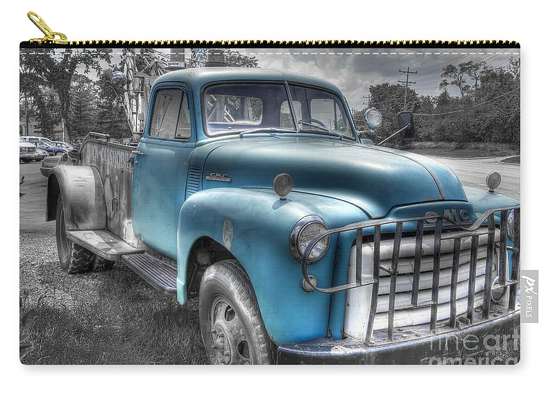 Truck Carry-all Pouch featuring the photograph 0043 Old Blue by Steve Sturgill