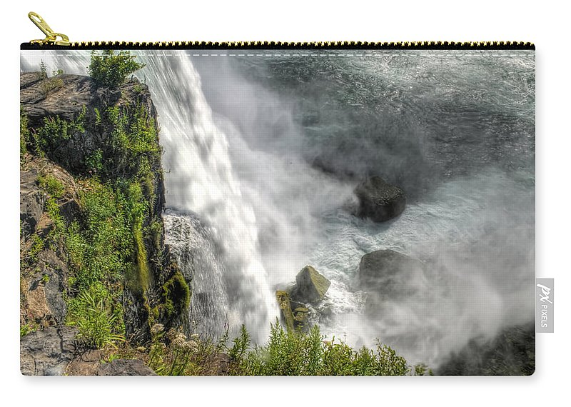 Niagara Falls Carry-all Pouch featuring the photograph 008 Niagara Falls Misty Blue Series by Michael Frank Jr