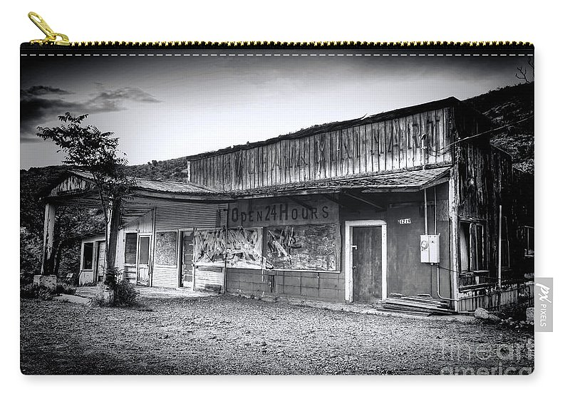 Jerome Carry-all Pouch featuring the photograph 0706 Jerome Ghost Town Black And White by Steve Sturgill