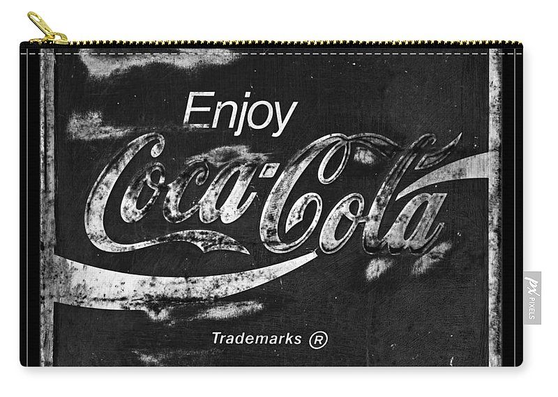 Coca Cola Carry-all Pouch featuring the photograph Coca Cola Sign Black And White by John Stephens