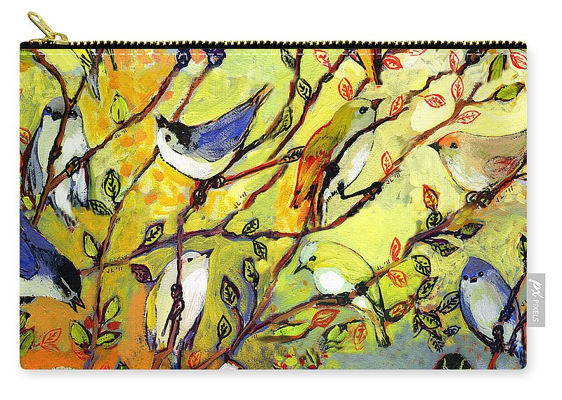 Bird Carry-all Pouch featuring the painting 16 Birds by Jennifer Lommers