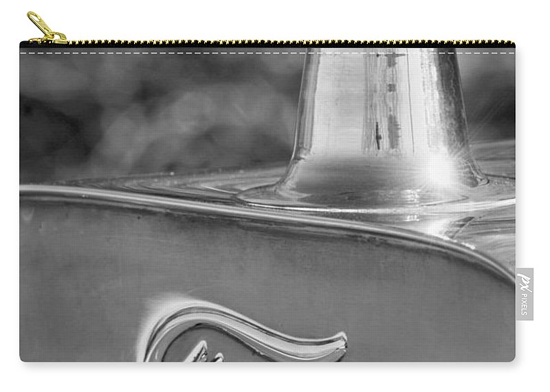 1911 Ford Model T Torpedo 4 Cylinder 25 Hp Hood Ornament Emblem Carry-all Pouch featuring the photograph 1911 Ford Model T Torpedo 4 Cylinder 25 Hp Hood Ornament Emblem by Jill Reger