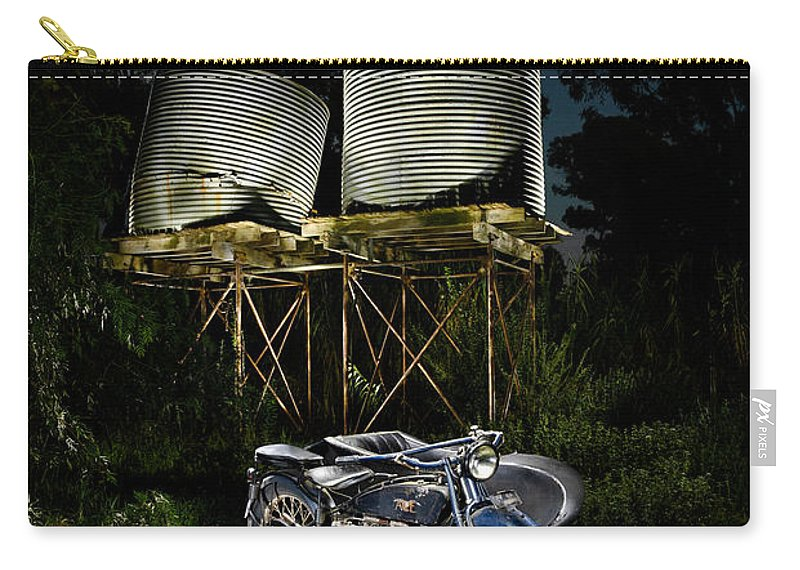 American Carry-all Pouch featuring the photograph 1924 Ace And Corrugated Water Tanks by Frank Kletschkus