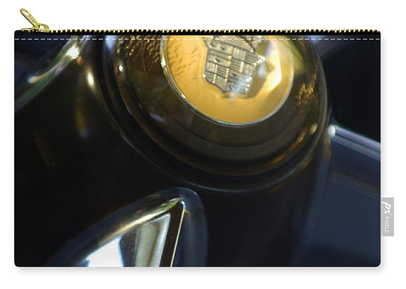 1947 Cadillac Model 62 Coupe Steering Wheel Carry-all Pouch featuring the photograph 1947 Cadillac Model 62 Coupe Steering Wheel by Jill Reger