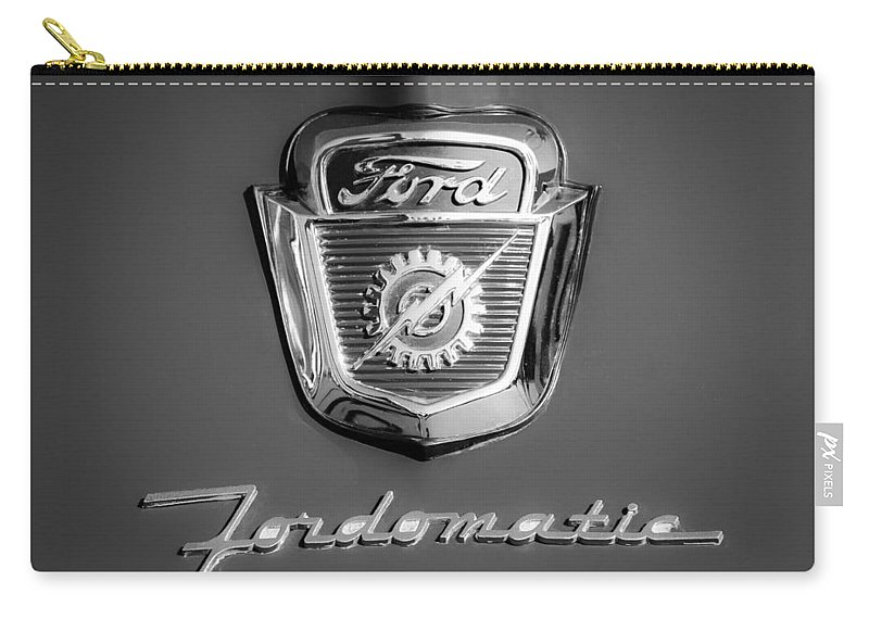 1950's Ford F-100 Fordomatic Pickup Truck Hood Emblems Carry-all Pouch featuring the photograph 1950's Ford F-100 Fordomatic Pickup Truck Hood Emblems by Jill Reger