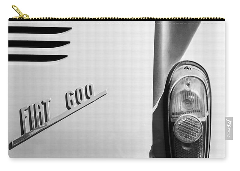 1956 Fiat 600 Taillight Emblem Carry-all Pouch featuring the photograph 1956 Fiat 600 Taillight Emblem by Jill Reger