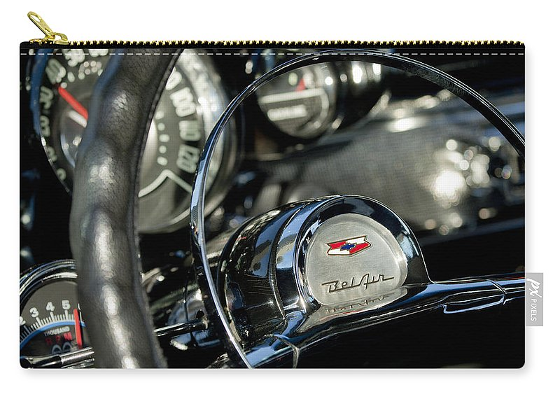1957 Chevrolet Belair Carry-all Pouch featuring the photograph 1957 Chevrolet Belair Steering Wheel by Jill Reger
